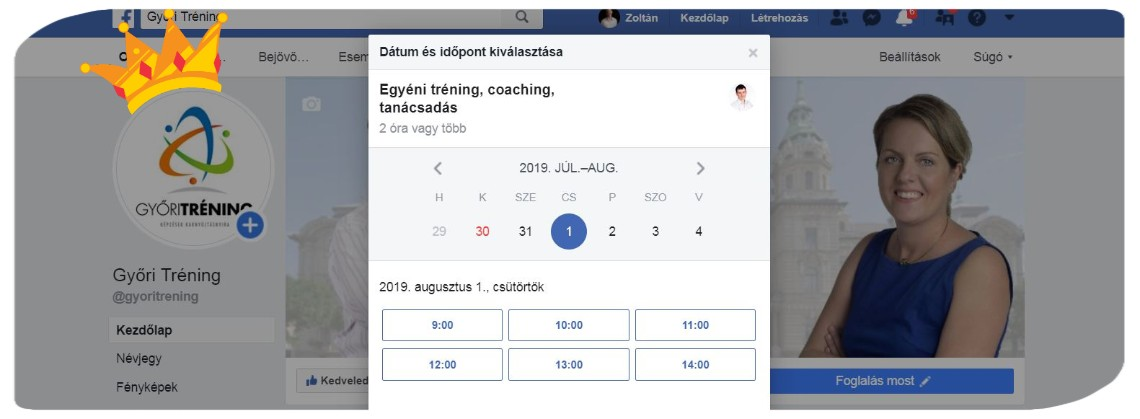 Online időpontfoglalás facebookon keresztül