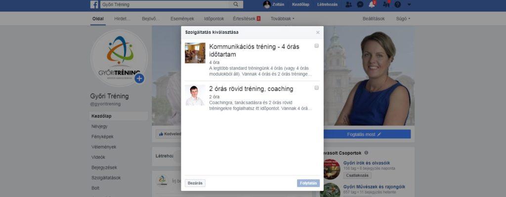 online időpontfoglalás facebookon - szolgáltatás kiválasztása